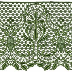 Picture of Macramè Lace Cross H. cm 22 (8,7 inch) Viscose and Polyester Red Olive Green Violet Lacework Edging for liturgical Vestments