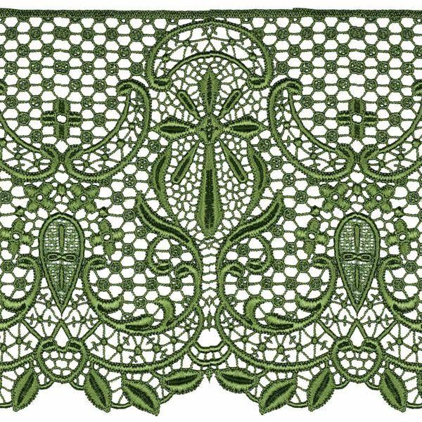 Imagen de Encaje macramè Cruz H. cm 22 (8,7 inch) Viscosa Poliéster Rojo Verde Oliva Morado Puntilla Bolillo Bordado para Vestiduras litúrgicas