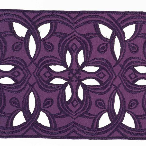 Immagine di Pizzo intagliato dritto H. cm 16 (6,3 inch) Viscosa Poliestere Rosso Verde Viola Ricamo Merletto Bordo Bordura per Paramenti