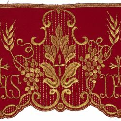Picture of Satin Lace JHS symbol H. cm 14 (5,5 inch) Pure Polyester Red Ivory Lacework Edging for liturgical Vestments