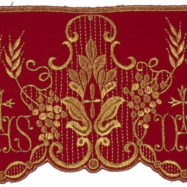 Immagine di Pizzo raso Simbolo JHS H. cm 14 (5,5 inch) puro Poliestere Rosso Avorio Ricamo Merletto Bordo Bordura per Paramenti