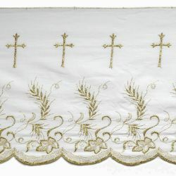 Picture of Lace Gold Eears of Corn and Grapes H. cm 27 (10,6 inch) Pure Cotton Brilliant Gold White/Gold Lacework Edging for liturgical Vestments