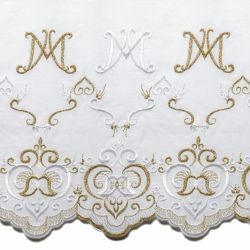 Picture of Embroidered Marian Lace H. cm 27 (10,6 inch) Pure Cotton Brilliant Gold White Gold Lacework Edging for liturgical Vestments