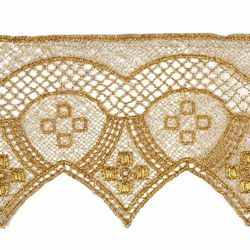 Picture of Macramè Lace Arc and Tips H. cm 8 (3,1 inch) Viscose and Polyester Brilliant Gold Lacework Edging for liturgical Vestments