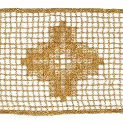 Picture of Macramè Lace Cross H. cm 8 (3,1 inch) Viscose and Polyester Brilliant Gold Lacework Edging for liturgical Vestments