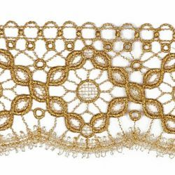 Picture of Embroidered Quatrefoil Macramè Lace H. cm 7 (2,8 inch) Viscose and Polyester Brilliant Gold Lacework Edging for liturgical Vestments
