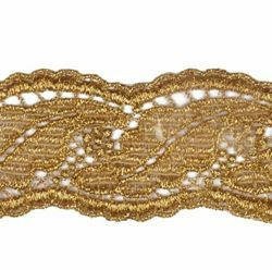 Picture of Macramè Lace Leaf H. cm 4 (1,6 inch) Viscose and Polyester Brilliant Gold Lacework Edging for liturgical Vestments