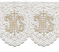 Picture of Crochet lace JHS symbol H. cm 12 (4,7 inch) Viscose and Polyester White/Gold Ivory/Gold Lacework Edging for liturgical Vestments