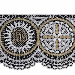 Picture of Filet crochet lace JHS symbol H. cm 10 (3,9 inch) Viscose and Polyester White/Gold Ivory/Gold Lacework Edging for liturgical Vestments