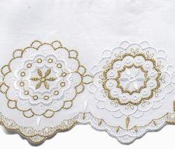 Immagine di Pizzo Rosone H. cm 14 (5,5 inch) puro Cotone Bianco/Oro Ricamo Merletto Bordo Bordura per Paramenti