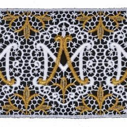 Picture of Embroidered Marian Lace H. cm 12 (4,7 inch) Viscose and Polyester White/Gold Lacework Edging for liturgical Vestments
