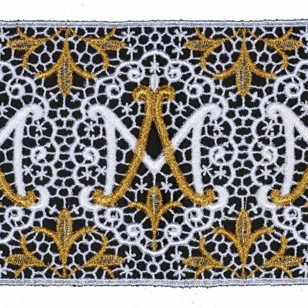 Imagen de Encaje Mariano Bordado H. cm 12 (4,7 inch) Viscosa Poliéster Blanco/Oro Puntilla Bolillo Bordado para Vestiduras litúrgicas