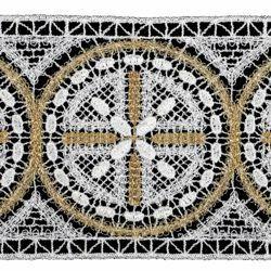 Immagine di Pizzo punto filet Rosone H. cm 10 (3,9 inch) Viscosa Poliestere Bianco/Oro Ricamo Merletto Bordo Bordura per Paramenti