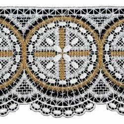 Picture of Filet crochet lace Rosette H. cm 10 (3,9 inch) Viscose and Polyester White/Gold Lacework Edging for liturgical Vestments