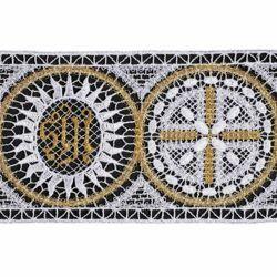 Immagine di Pizzo punto filet Rosone Simbolo JHS H. cm 10 (3,9 inch) Viscosa Poliestere Bianco Bianco/Oro Ricamo Merletto Bordo Bordura per Paramenti