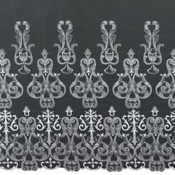 Picture of Tulle Lace Cross H. cm 70 (27,6 inch) Viscose and Polyester White Lacework Edging for liturgical Vestments