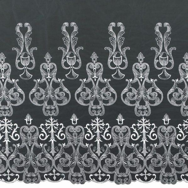 Immagine di Pizzo Tulle Croce Calice H. cm 70 (27,6 inch) Viscosa Poliestere Bianco Ricamo Merletto Bordo Bordura per Paramenti