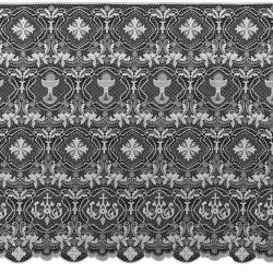 Picture of Lace Floral Cross H. cm 60 (23,6 inch) Viscose and Polyester White Lacework Edging for liturgical Vestments