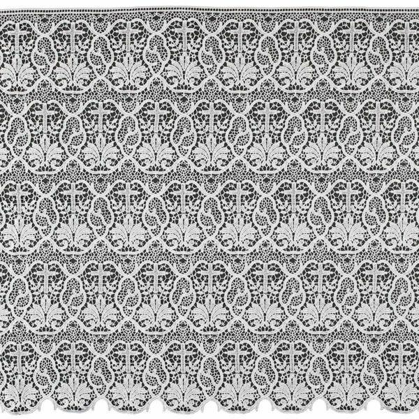Imagen de Encaje macramè Cruz Palmera H. cm 60 (23,6 inch) Viscosa Poliéster Blanco Puntilla Bolillo Bordado para Vestiduras litúrgicas