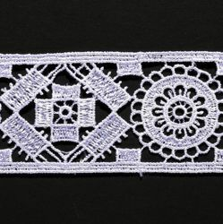 Picture of Macramè Lace Cross Rhomb H. cm 4 (1,6 inch) Viscose and Polyester White Lacework Edging for liturgical Vestments