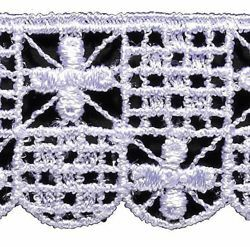 Picture of Crochet Macramè Lace Small Crosses H. cm 3 (1,2 inch) Viscose and Polyester White Lacework Edging for liturgical Vestments