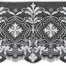 Picture of Lace Floral Cross H. cm 25 (9,8 inch) Viscose and Polyester White Lacework Edging for liturgical Vestments
