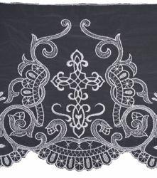 Immagine di Pizzo Tulle Croce Simbolo JHS Croce H. cm 25 (9,8 inch) Viscosa Poliestere Bianco Ricamo Merletto Bordo Bordura per Paramenti
