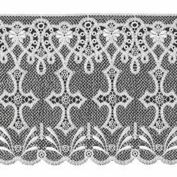 Picture of Macramè Lace Cross H. cm 25 (9,8 inch) Viscose and Polyester White Lacework Edging for liturgical Vestments