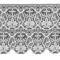 Picture of Macramè Lace Cross and Palm Tree H. cm 25 (9,8 inch) Viscose and Polyester White Lacework Edging for liturgical Vestments
