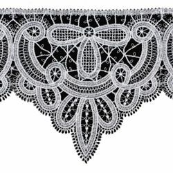 Picture of Macramè Lace Gerbera H. cm 16 (6,3 inch) Viscose and Polyester White Lacework Edging for liturgical Vestments