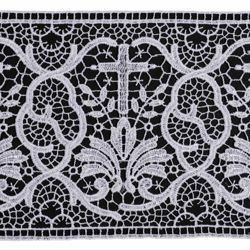 Picture of Macramè Lace Cross and Palm Tree H. cm 12 (4,7 inch) Viscose and Polyester White Lacework Edging for liturgical Vestments