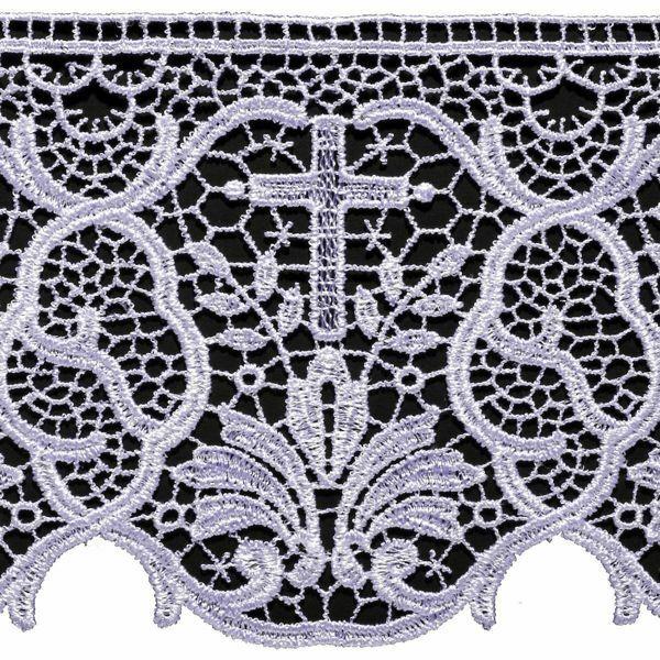Imagen de Encaje macramè Cruz Palmera H. cm 12 (4,7 inch) Viscosa Poliéster Blanco Puntilla Bolillo Bordado para Vestiduras litúrgicas