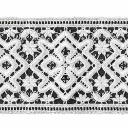 Immagine di Pizzo tramezzo macramè Croce Rombo H. cm 10 (3,9 inch) Viscosa Poliestere Bianco Ricamo Merletto Bordo Bordura per Paramenti