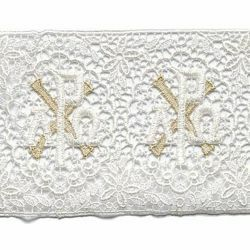Picture of Lace Crosses H. cm 12 (4,7 inch) Viscose and Polyester Ivory/Gold Lacework Edging for liturgical Vestments