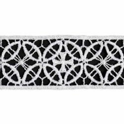 Picture of Lace Cross Rhomb H. cm 4 (1,6 inch) Viscose and Polyester Ivory White Lacework Edging for liturgical Vestments
