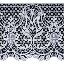 Picture of Marian Lace Macramè H. cm 22,5 (8,9 inch) Viscose and Polyester Ivory White Lacework Edging for liturgical Vestments