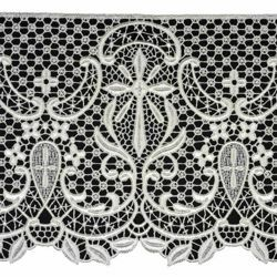Picture of Macramè Lace Cross H. cm 22 (8,7 inch) Viscose and Polyester Ivory White Lacework Edging for liturgical Vestments