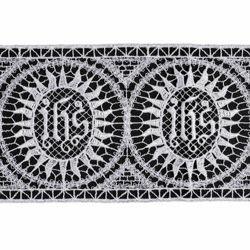 Immagine di Pizzo punto filet Simbolo JHS H. cm 10 (3,9 inch) Viscosa Poliestere Avorio Bianco Ricamo Merletto Bordo Bordura per Paramenti