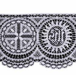 Immagine di Pizzo smerlo punto filet Rosone Simbolo JHS H. cm 10 (3,9 inch) Viscosa Poliestere Avorio Bianco Ricamo Merletto Bordo Bordura per Paramenti