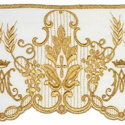 Picture of Satin Lace Marian embroidery H. cm 14 (5,5 inch) Pure Polyester Ivory Lacework Edging for liturgical Vestments