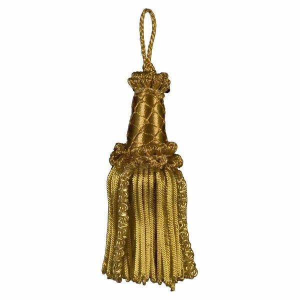 Immagine di Fiocco in Canuttiglia oro inox speciale cm 12 (4,7 inch) in filato metallico e Viscosa Nappa per Paramenti liturgici