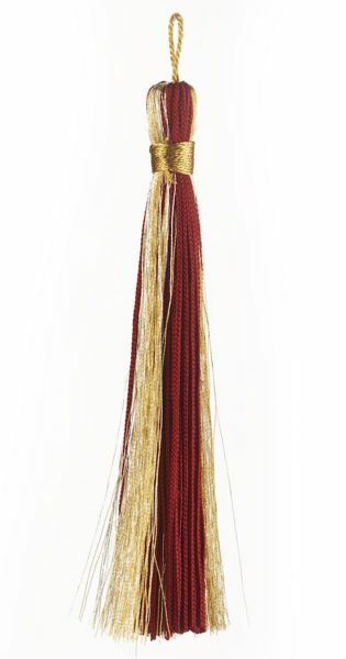 Picture of Small Tassel Gold and Silver Thread L. cm 12 (4,7 inch) Acetate and Viscose Red Olive Green Violet Ivory for liturgical Vestments