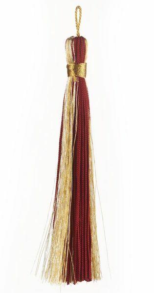 Imagen de Borla pequeña Hilo oro y plata L. cm 12 (4,7 inch) de Acetato y Viscosa Rojo Verde Oliva Morado Marfil para Vestiduras litúrgicas