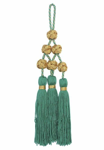 Picture of Tassel with Solomon knots 3 small Tripolin Knot Tassels cm 16 (6,3 inch) Metallic thread and Viscose Red Violet Green Flag White for Cope Pluviale and liturgical Vestments