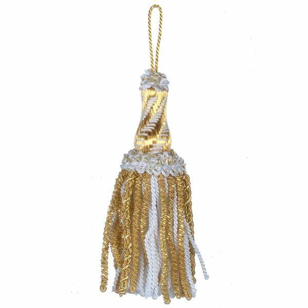 Imagen de Borla de Luxe con ojal de Canutilho oro y color cm 16 (6,3 inch) en hilo metálico y Viscosa Blanco para Vestiduras litúrgicas
