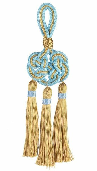 Picture of Celtic Knot Tassel gold 3 small Cord Tassels cm 16 (6,3 inch) Metallic thread and Viscose Red Celestial Violet Green Flag White for Cope Pluviale and liturgical Vestments