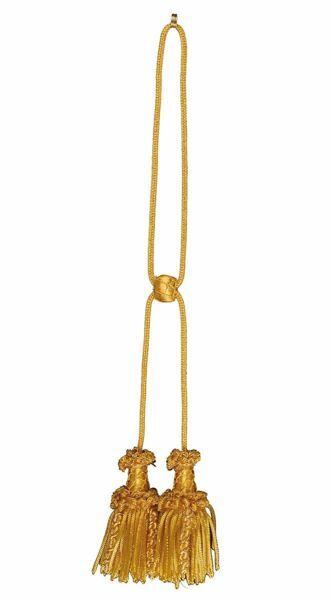 Immagine di Cordoniera oro canuttiglia a 2 fiocchi con vermiglione in filato metallico e Viscosa per Stola liturgica