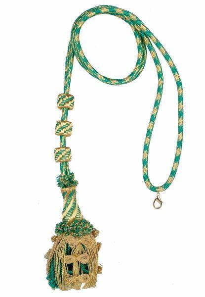 Immagine di Cordoniera lusso oro e colore in filato metallico Rosso Verde Nero per Croce Pettorale