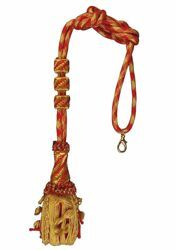 Picture of Cord Tassel de luxe gold and color Metallic thread White Cardinal Red for pectoral Cross