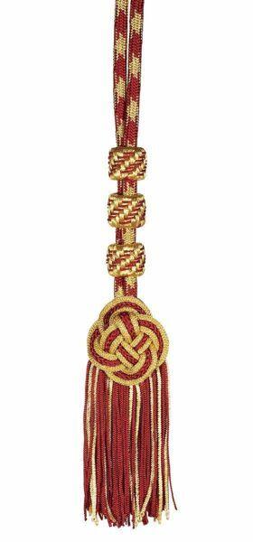 Immagine di Cordoniera con nodo piatto in filato metallico Rosso Verde Rosso Cardinalizio per Croce Pettorale